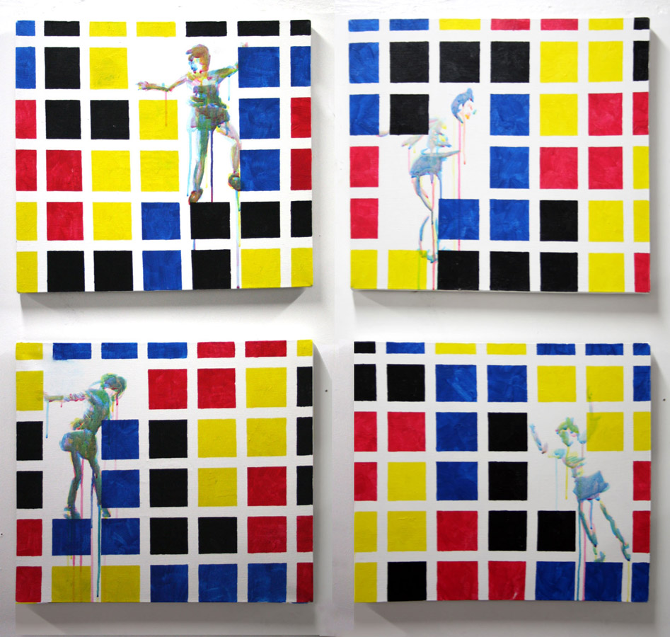 an acrylic painting on four canvases,  				Dancing to Korobeiniki