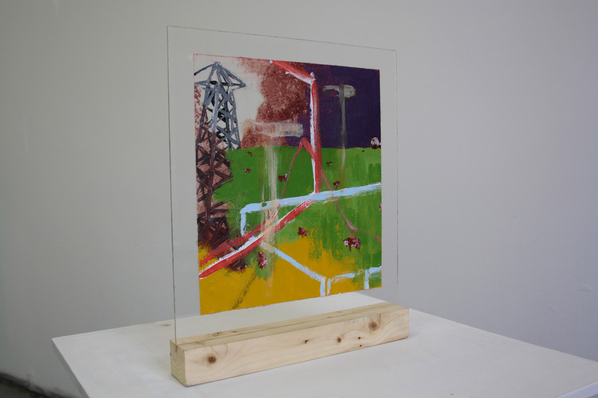 two-sided painting on plexiglass, 				 The Feed In