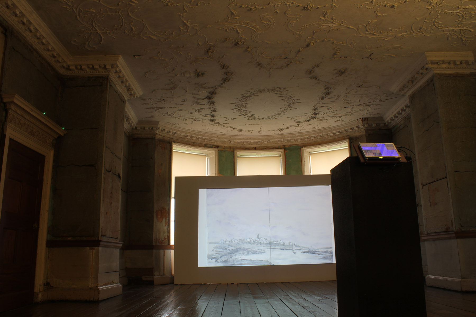 A mixed media installation, faigh ar ais as an fharraige, in its second exhibition at rathfarnham castle, dublin